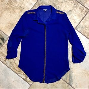 Cobalt Blue with Gold Detailing Button Up